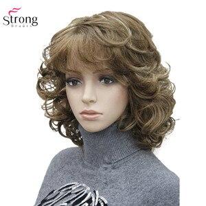 Image 1 - StrongBeauty frauen Synthetische Perücken Natürliche Lockige Perücke Medium Schwarz/Blonde Haarteil Haar Perücke