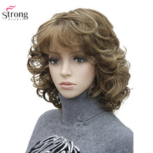 StrongBeauty pelucas sintéticas para mujer, peluca de pelo rizado Natural, color negro medio/postizo Rubio