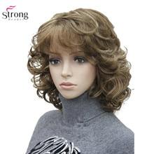 Strongbeauty peruca sintética feminina, peruca de cabelo sintético natural preta/loira