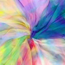 Tela de malla de tul con gradiente de arcoíris para vestido de fiesta, tejido de red, Tissu, falda suave, velo, vestido de baile, tutú, tela de Organza, 5 yardas/lote