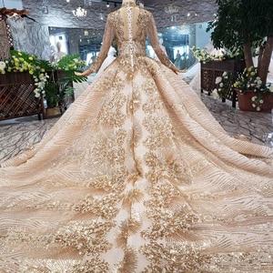 Image 2 - LS20470 Luxury muslim Wedding Dress high neck shiny sequins lacing up back handmade appliques bridal dress golden ślub