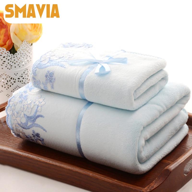 Classic Towels Pure Fresh Beautiful Couples Set Towel Sand Beach Household Bath Towel Travel Hand Towel 1pc 70*140cm+1pc 34*75cm