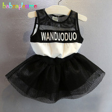 2-6Years/Baby Girls Summer Clothes Letter Sleeveless Lace Tutu Black Dress Toddler Dresses Children Clothing Kids Costume BC1166