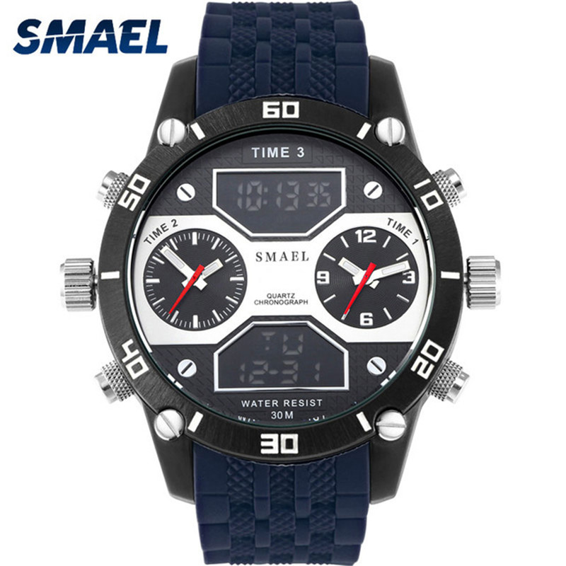 все цены на SMAEL Top Brand Luxury Men Digital Watches Dual Display Dial Military Cool Waterproof Creative Men Sport Clock relogio masculino