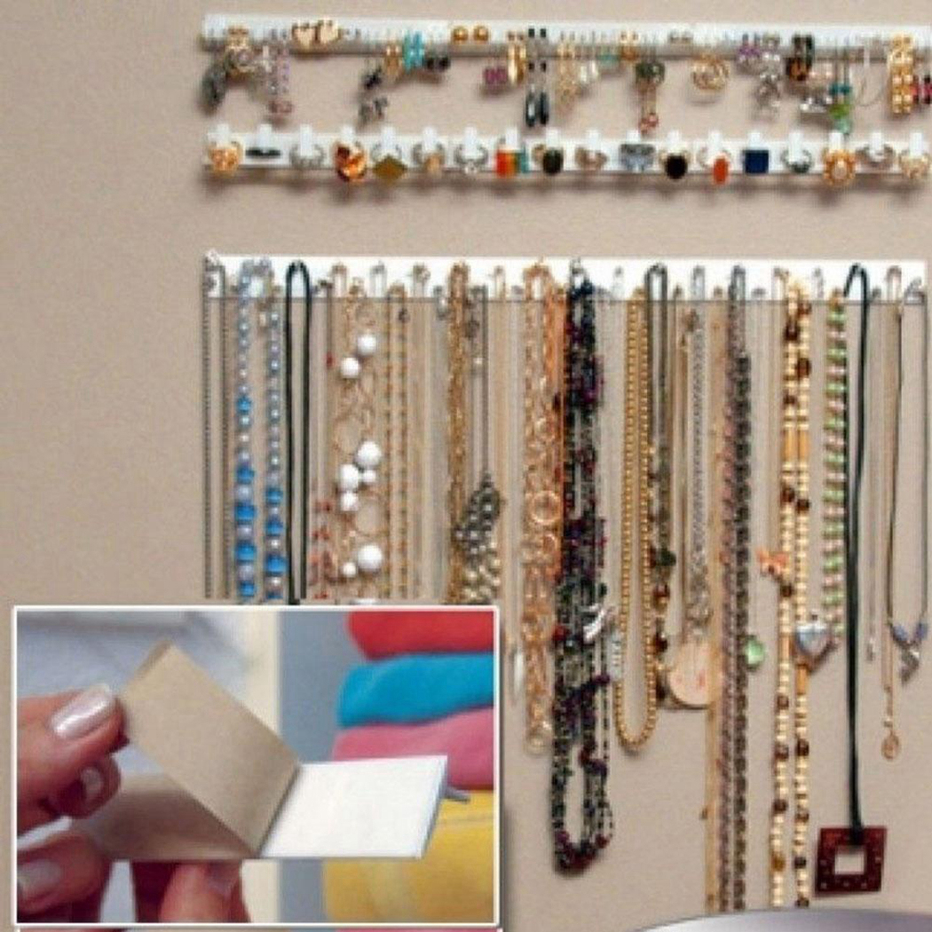 Jewelry Wall Holder Organizer Adhesive Paste Wall Hanging Storage Jewelry Hooks Earring Ring Necklace Hanger Holder Stand