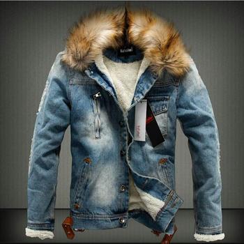 S-4xl Winter New Cotton Coat Tide Slim Thick Fur Collar Cowboy Jacket Men's Couple Denim Jacket Large Size Clothing Outerwear