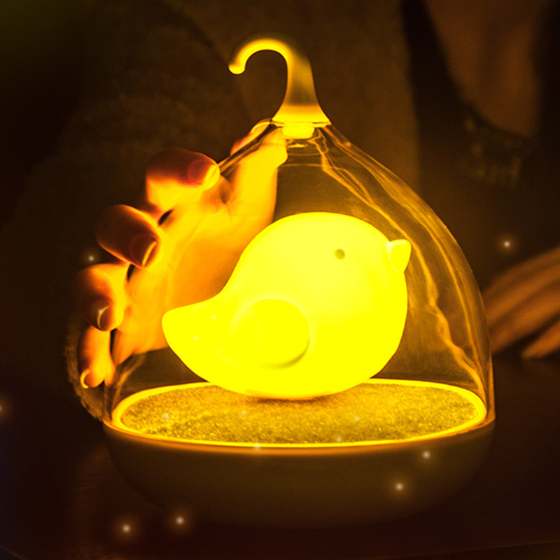 New Strange Bird Night Light Creative New Birdcage Nightlight Touch Charging Dimming LED Table Lamp