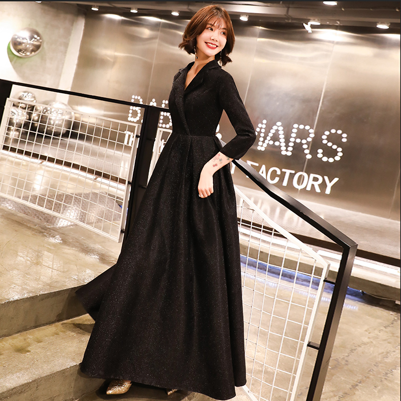 Robe De Soiree Evening Dress 2019 Black V Neck Long Sleeve Formal Party Evening Dresses Gown Long Vestido De Festa LYFY137