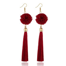 Elegant Pompom Ball Long Tassel Earrings For Women Bohemian Handmade Fringed Hanging Drop Fashion Statement Jewelry