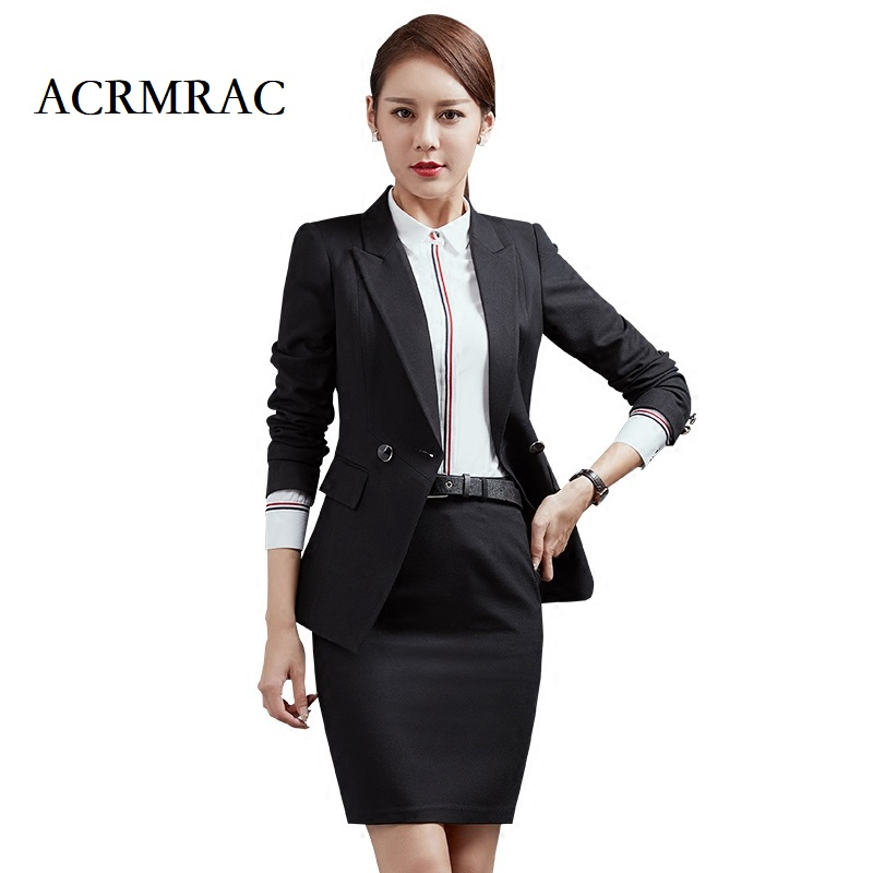ACRMRAC Ms Long sleeves black Solid color Professional suits Formal wear OL Formal Pant Suits