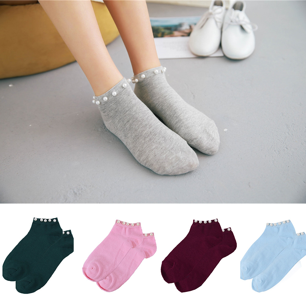 7 Colors Women socks Cotton Lovely Candy Color Imitation Pearl Women's Socks.Casual Ladies Girl's Short female Socks Sox Hosiery