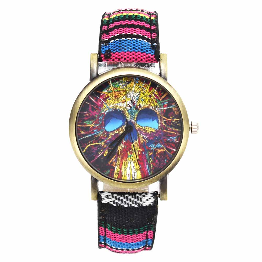 Fashion Head Head Devil Flower Skeleton Dial Watches Casual Men Women - Әйелдер сағаттары - фото 2