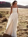 New Designer Bohemian Long Chiffon Beach Wedding Dresses Spaghetti Straps Boho Bride Dress robe de mariage vestido noiva TB1319