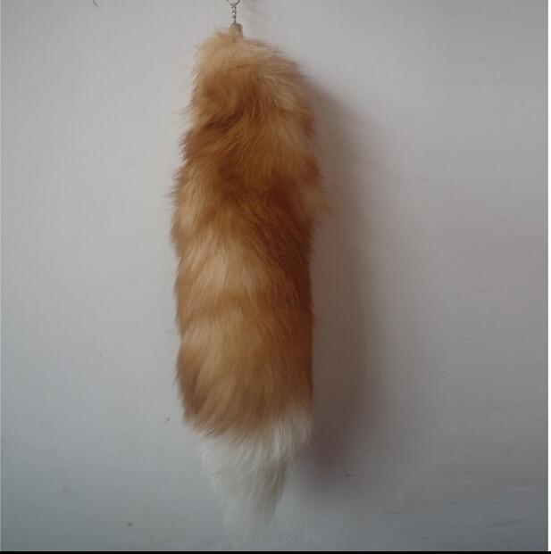 1pc/lot 46cm Fashion long fox fur ball keychain bags/car key chains fox tail women accessories lover's gift