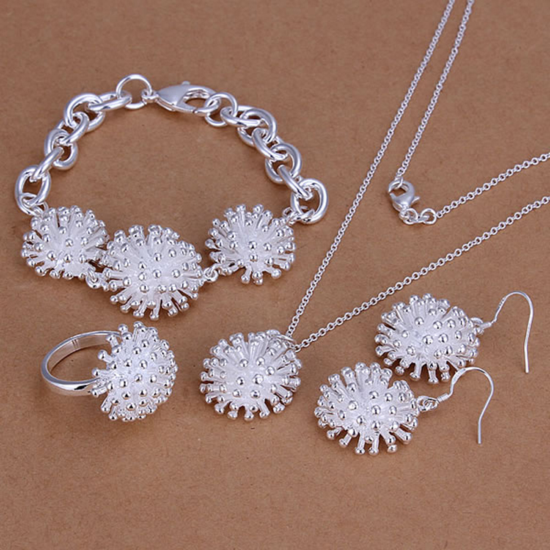 S250 Silver Color Jewelry Set,925 Stamped Fashion Fireworks Ring Earrings Necklace Bracelet Sets, For Wedding Party Jewellery