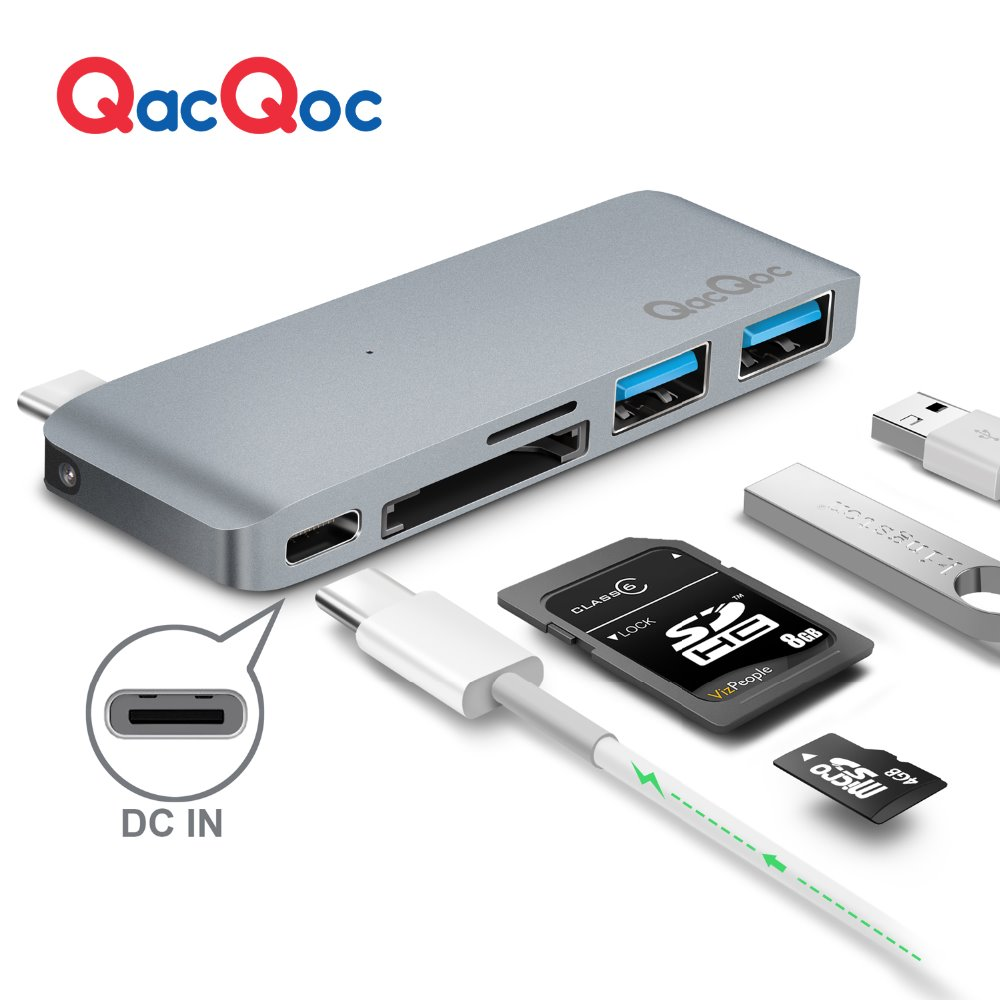 QacQoc GN21B Aluminium alloy USB C Hub with Card Reader 2 USB 3.0 Ports Type-C Charging Port for Macbook12-Inch MacBook Pro 668 usb 3 1 type c card reader