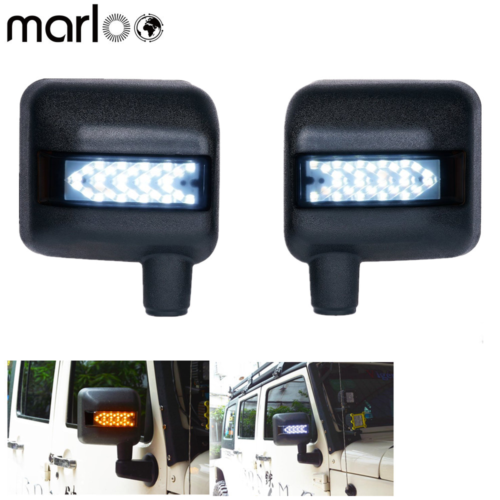 Marloo LED Side Mirror Housing with DRL and Amber Turn Signal Lights For 2007-2017 Jeep Wrangler combo for 2007 2015 jeep wrangler smoke lens amber led front turn signal light fender side marker parking lamp