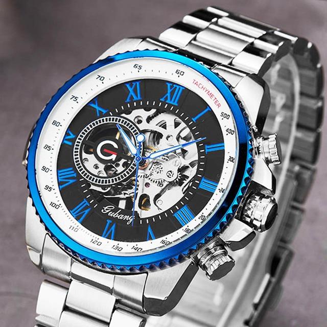 Luxury Top Silver Automatic Mechanical Men Watch Skeleton Steel Bracelet Self wind Wristwatch Male Blue Sliver Black Clock Reloj