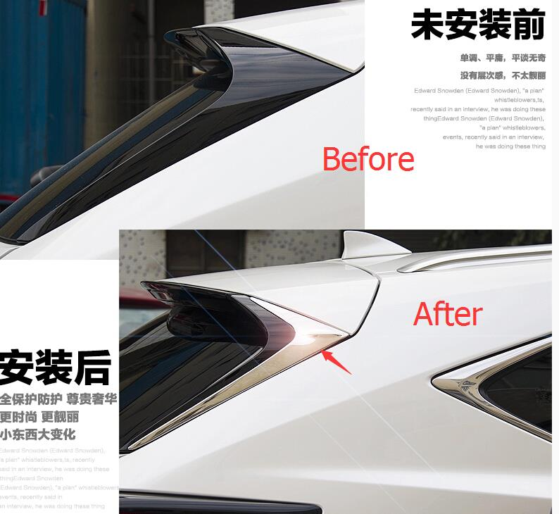 For LEXUS NX NX200T NX300H 2015-2017 Stainless Steel Rear Window Triangle Sill Cover Trim 2 pcs / set new arrival for lexus rx200t rx450h 2016 2pcs stainless steel chrome rear window sill decorative trims
