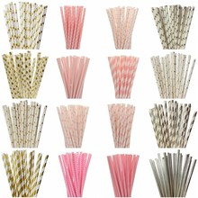 25pcs/lot Foil Gold Pink Paper Straws For Kids Birthday Wedding Decorative Event Party Supplies Mickey Minnie Mouse Cupcake Flag