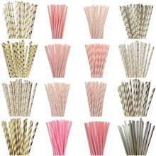 25pcs/lot Foil Gold Pink Paper Straws For Kids Birthday Wedding Decorative Event Party Supplies Mickey Minnie Mouse Cupcake Flag(China)