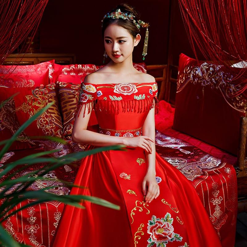 Rouge chinois mariage mariée Cheongsam Style traditionnel se marier robe de soirée broderie longue Qipao femmes vêtements taille S-3XL