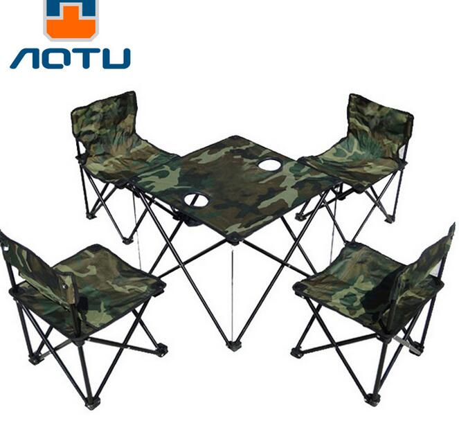 5pcsset outdoor portable camping picnic folding table chair set foldable desk fishing chairs - Folding Table And Chairs