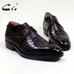 cie crocodile belly skin upper calf leather inner/ outsole custom handmade genuine leather men's shoe No.CR1 goodyear welted