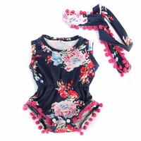 Puseky Newborn Toddler Baby Girls Bodysuits Clothes Tops Head Bands Floral Vintage Sleeveless Jumpsuit Sunsuit Clothing 0 24M