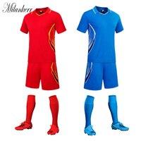 Soccer Uniform For Mens Football Jerseys Sets Short Sleeve Lapel Jerseys Shorts Kit Team Training Competition