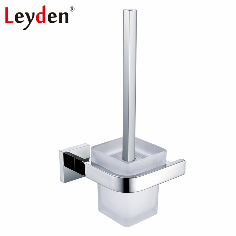 Leyden Stainless Steel Polished Chrome Toilet Brush Holder Glass with Cup Glass Wall Mounted Rounded Style Bathroom Accessories