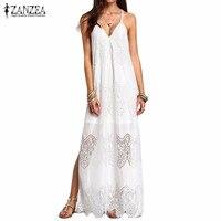 ZANZEA Fashion 2016 Womens Summer Beach Party Dresses Deep V Neck Split Sleeveless White Lace Maxi