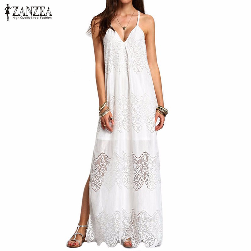 ZANZEA мода 2016 женщины; Лето; пляж платья для вечеринок глубокий v-образный вырез Сплит без рукавов белое кружевное Макси длинное платье плюс ра...