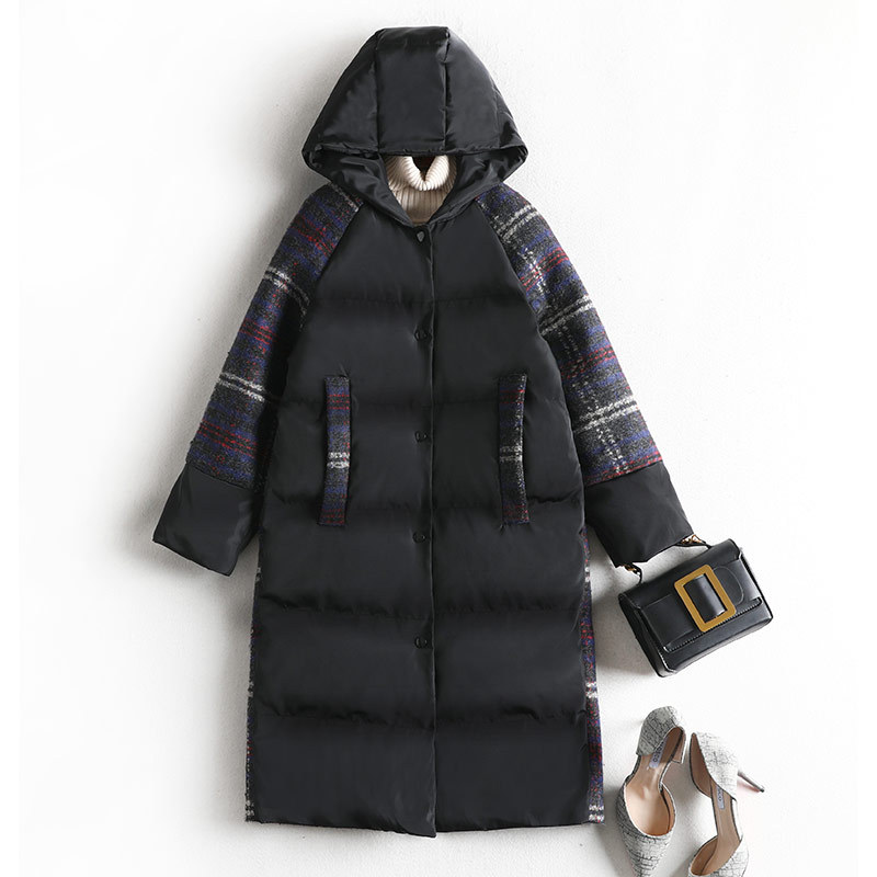 Space Cotton   Parka   Women Patchwork Plaid Hooded Winter Coat Plus Size Thick Warm Fashion Outwear 8567