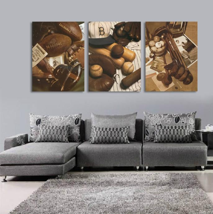 3 Piece Canvas Wall Art Picture Painting Decoration Home Modern Picture  Canvas PrintsFootball, Baseball And