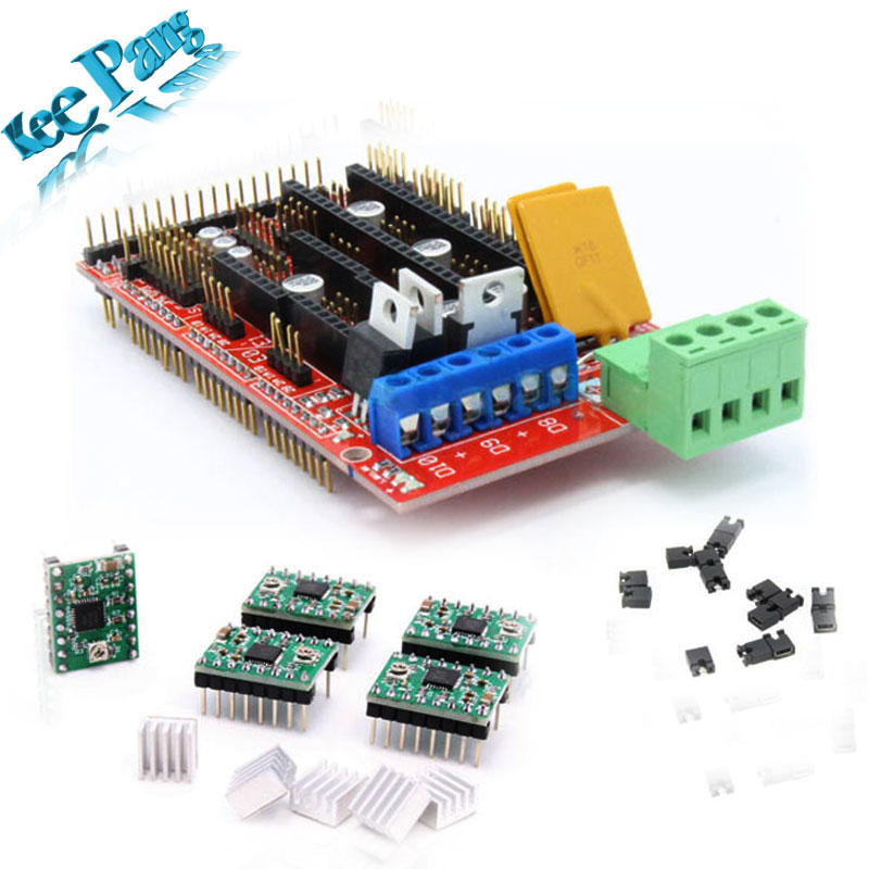 RAMPS 1.4 REPRAP 3D PRINTER CONTROLLER + 5pcs A4988 Drivers +5pcs Heatsink