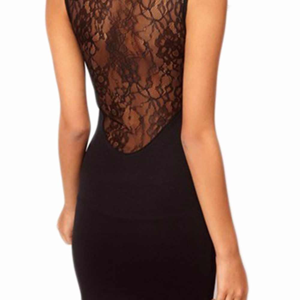 2018 сексуальное кружевное летнее платье для женщин, без рукавов, облегающее, облегающее, коктейльное, с вырезом, Клубные, вечерние, с круглым вырезом, черное, мини-платье