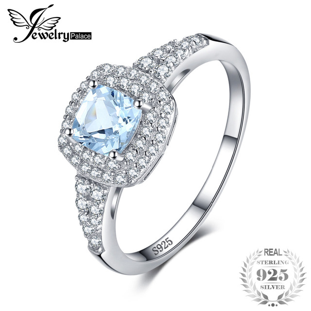 JewelryPalace Cushion Cut 0.9ct Natural Aquamarine Halo Engagement Ring 925 Sterling Silver qcTGZw