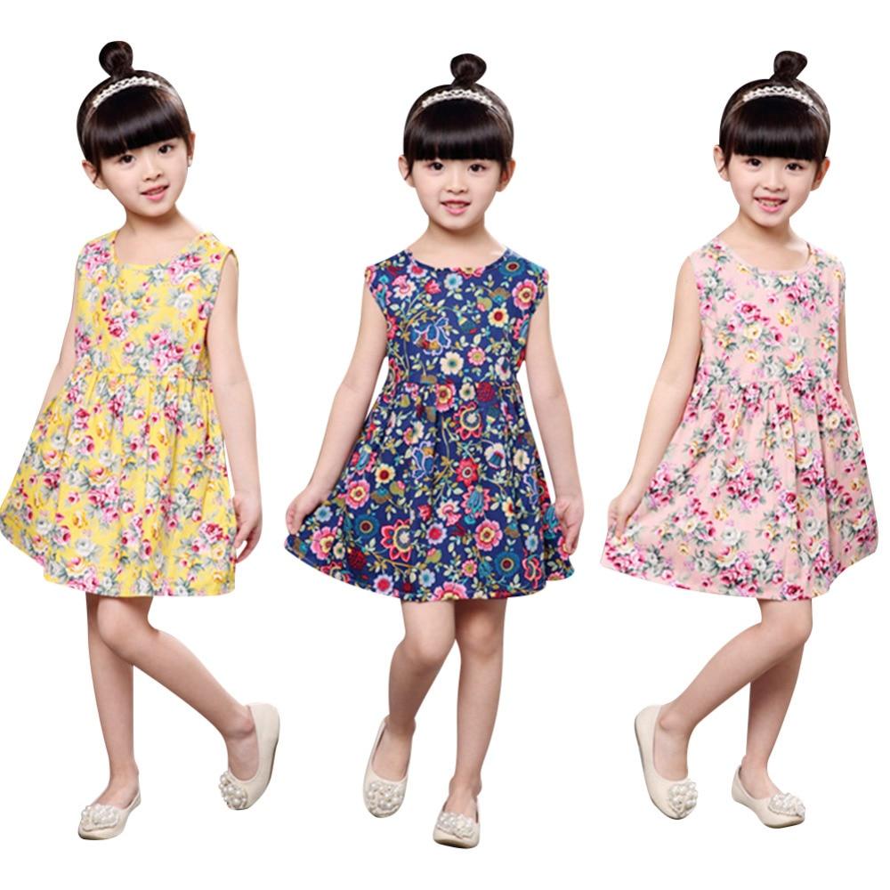 Момичета лятна мода рокля деца без ръкав O-образно деколте флорален печат мини-линия случайни рокли детско парти рокля детска кърпа  t