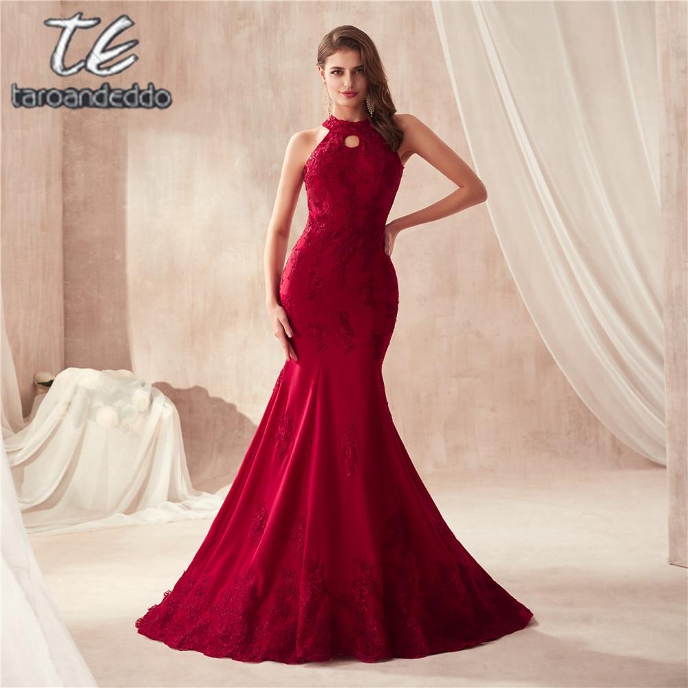 Halter Neckline Keyhole Burgundy Wine Red Mermaid Prom Dress Vestidos de Festa Party Gown Hot Sale