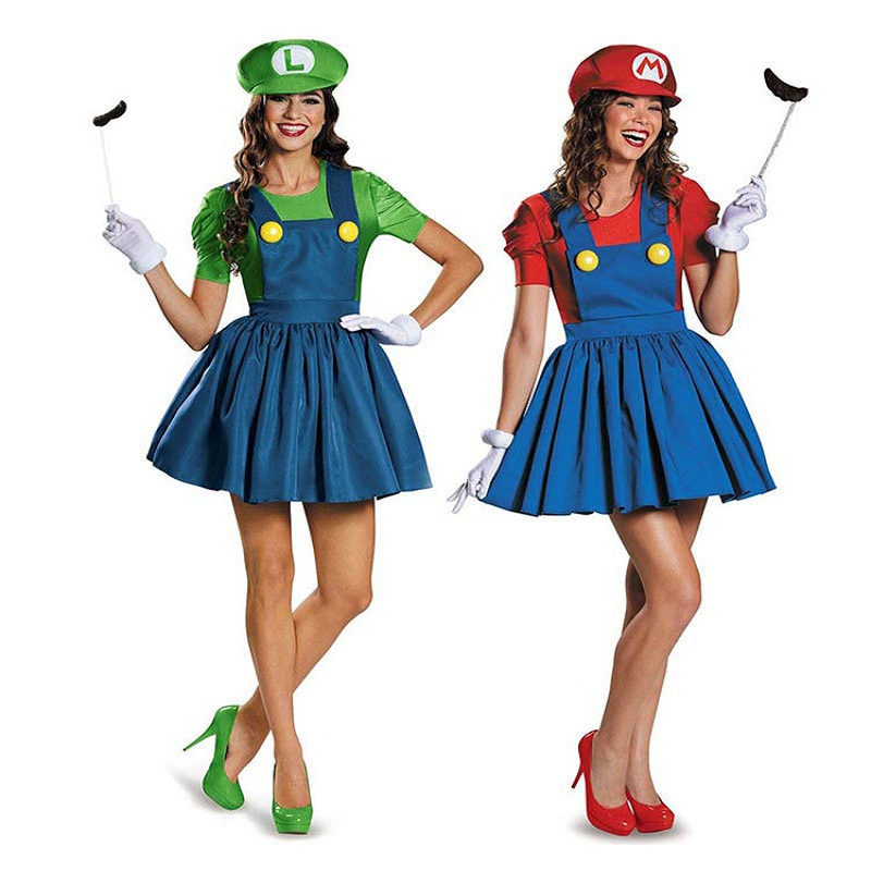 Halloween Super Mario Luigi Bros Costume Women Sexy Dress Plumber Costume Adult Mario Bros Cosplay Costume Fancy Dress