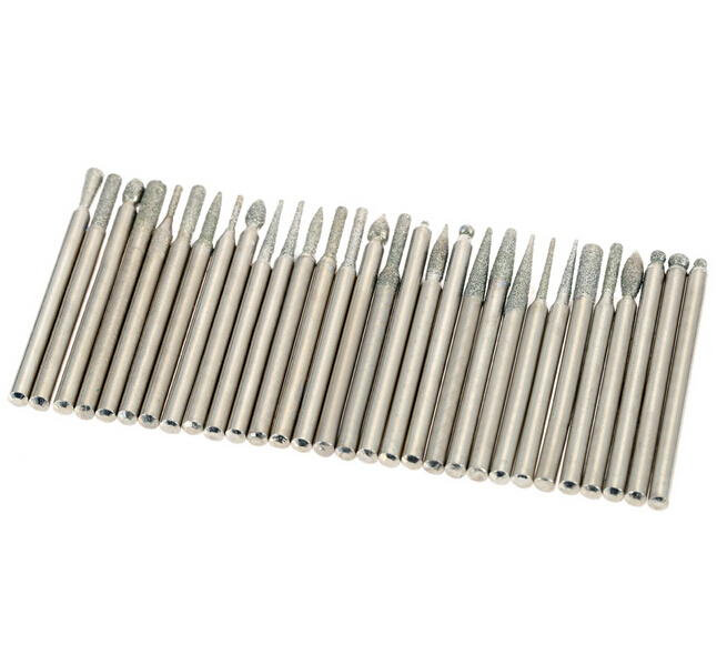 30pcs Dremel Tool Accessories Grinding Accessories Electroplated Diamond Grinding Heads Burrs Bit Set for Dremel Rotary Tool Set