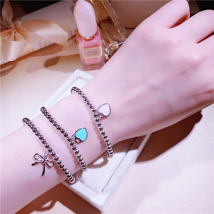 Fashion Blue Pink Enamel Heart Bead Bracelet For Female S925 Silver Charm 4mm ball bowknot Bracelets  Pulseras brand jewelry
