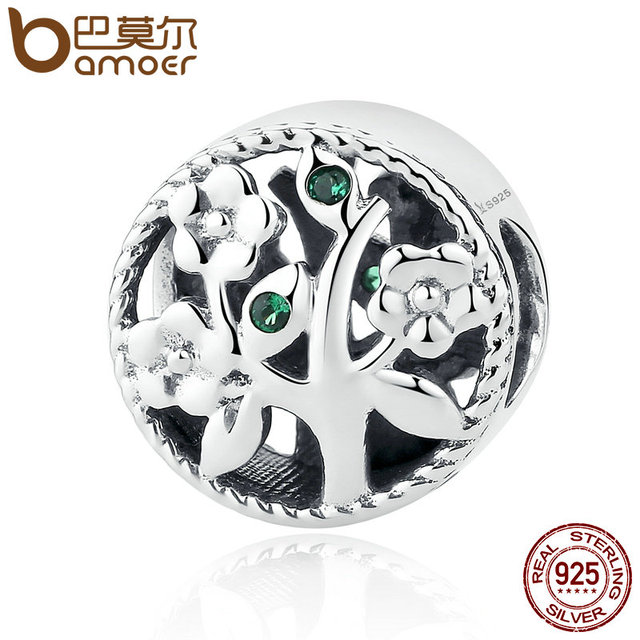 BAMOER Fashion 100% 925 Sterling Silver Tree of Life Bead Charms fit Bracelets W