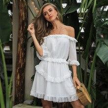 Новое Стильное пляжное праздничное летнее платье с открытыми плечами, косой вырез с оборками, сексуальное женское облегающее платье знаменитостей, платья оптом
