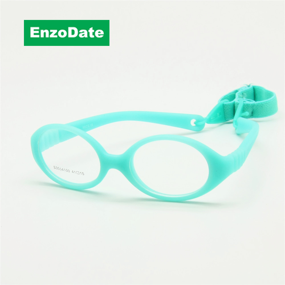 Italienische Flexible No Screw Girls Brille mit 41mm Kordel, Jungen Brille & Gurt, Kinder Brille, Biegsame Baby Brille