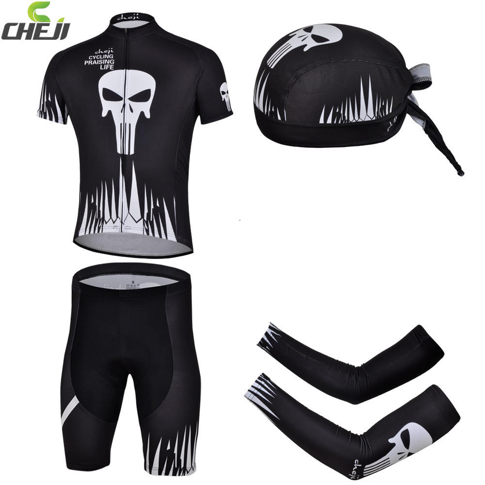 CHEJI Riding Bike Bicycle Jersey &Pirate Hat&&Bike Arm Sleeve Cover ciclismo Suit Black Skull cheji stylish bike riding head scarf black white