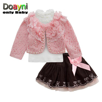 Doayni Baby Girls Korean Style Clothing Sets 3pcs Outwear Coat With Inner Turtleneck Shirt And Skirts