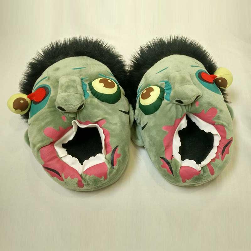 Kort plysch Ravenous Zombie Tofflor 3D Kvinnor Halloween Skor Män - Damskor - Foto 3