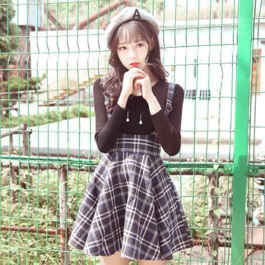 2019 Plaid Jarretel Rok Herfst Japanse Vintage Wol Slanke Geplooide saia College Zoete Strap Mini Rokken DV171